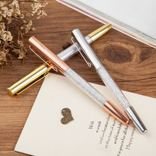 3 Pcs Crystal Signature Pen Diamond Gold Silver Office Stationery Gift Ball Point Pen(China)