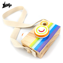 Likiq Mini Wood toy Cameras Baby Kids Creative Gift Neck Hanging Photography Prop Decoration Children Playing House Decor Toys(China)