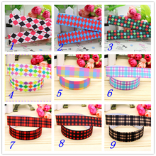 7/8'' Free shipping plaid printed grosgrain ribbon hairbow headwear party decoration diy wholesale OEM 22mm S376