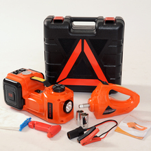 free and fast shipping 4 functions orange color electric lifting jack with impact wrench and inflating pump(China)