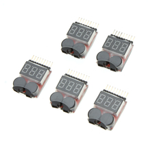 5Pcs 1-8S Indicator RC Li-ion Lipo Battery Tester Low Voltage Buzzer Alarm(China)