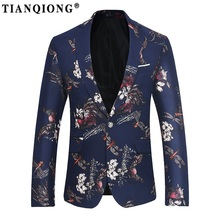TIAN QIONG 2017 Autumn&Winter slim Mens blazer high quality Suit Jacket for Men free delivery Male blazers European size S-3XL(China)