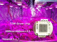 Newest !! 72W DIY grow kit  red and blue grow led chip plant grow wavelength 660nm 460nm led grow chip, free shpping