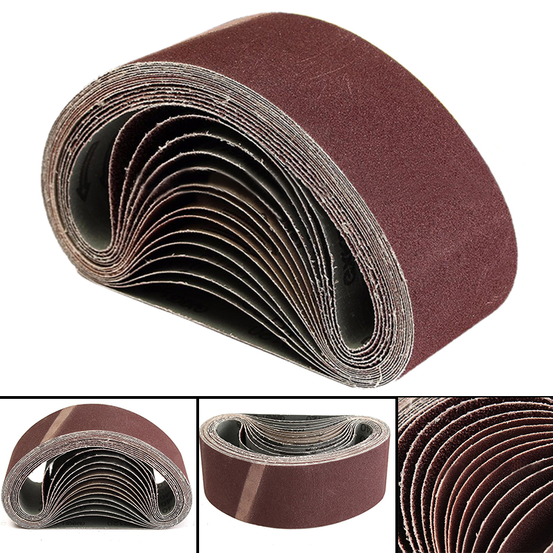 "15pcs Aluminium Oxide Sanding Belts 40/80/120 Grit Sander Polishing Tools 3"" x 21""(China)"