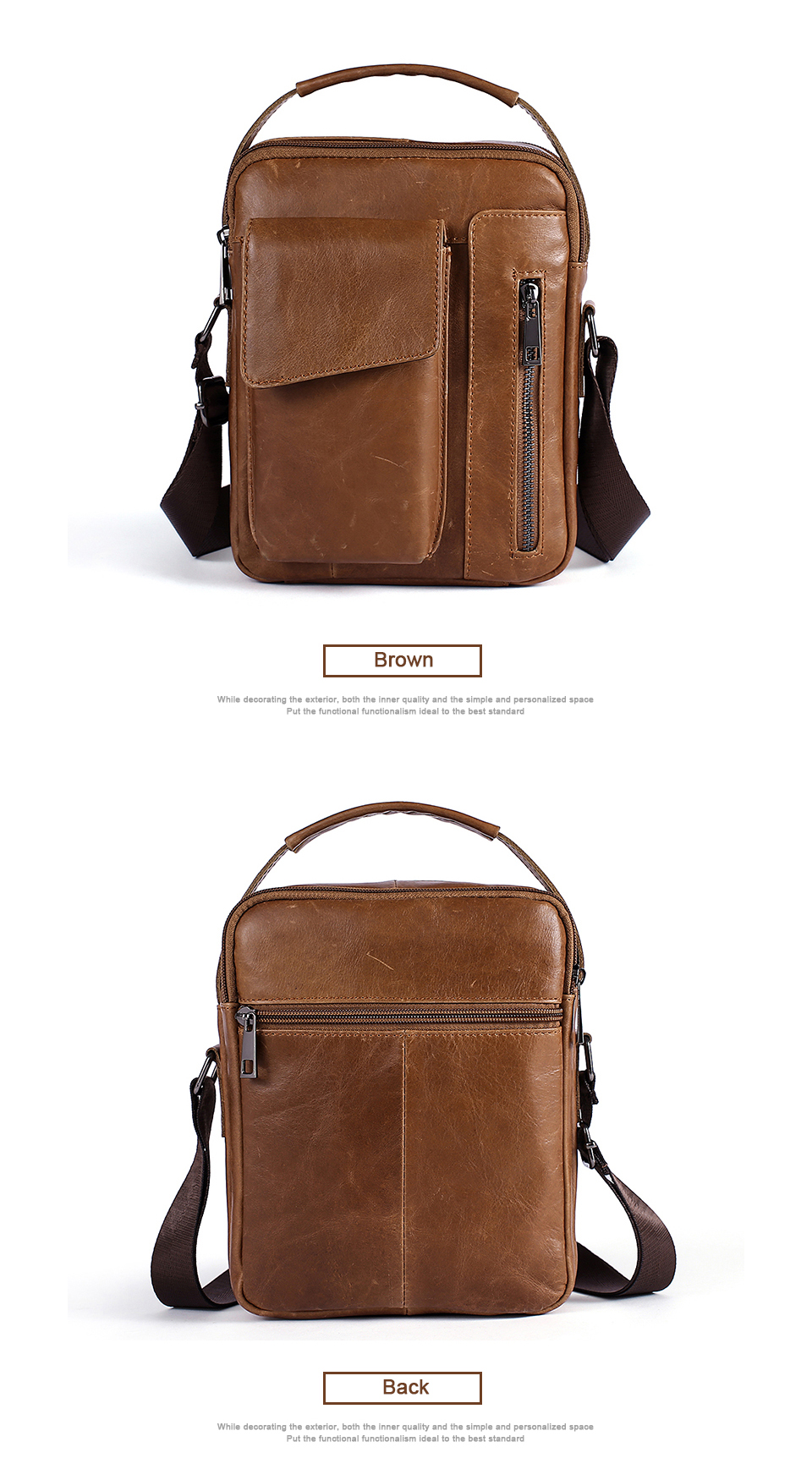 Men's Bags Genuine Leather Bag Male Messenger Crossbody Bags Casual Cowhide Flap Leather Men Shoulder Bag Man (7)