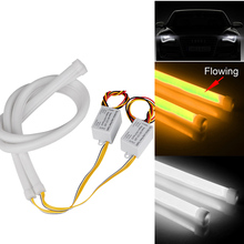 2Pcs 60CM Flexible Car LED Strip Light White and Flowing Amber Guide Bar Lamp For DRL Angel Eye Headlight Turning Signal Light
