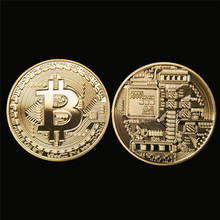 New 1 x Gold Plated Bitcoin Coin Collectible BTC Coin Art Collection Gift Physical(China)