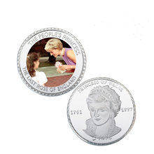 The Last Rose of England Princess Diana 20th Anniversary 999.9 Silver Coin Home Decor Royal Diana Challenge Coin(China)