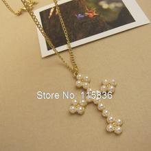 Imitation Pearls cross necklace Gold Color Plated cross pendant sweater chain fashion jewelry wholesale women's accessories