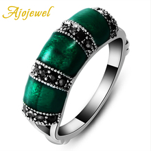Ajojewel #6.5-9 Brand Bamboo Designer Vintage Women Green Ring With Black CZ Stone Enamel Jewelry High Quality Party Gift