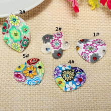 6pc/lot Polymer Fimo Clay Small Love Heart Stat Shape Cabochon Beads For Kids Pendant Necklace Jewelry Handcraft Making Material