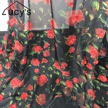 2017 NEW 2 Colors Off white Black women blouses dresses making chiffon printing fabric 3d Flowers lace fabric 1 yard NEW!