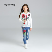 2017 Fashion Floral Girls clothing Sets baby girl denim sets cotton girl 3pcs suit set flower outerwear/coats+shirts+jeans