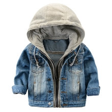 2016 Children's Jacket Denim Boys Hooded Jean Jackets Girls Kids clothing baby coat Casual outerwear  New Brand factory