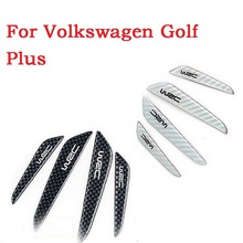 Car door crash decorative trim scuff plate auto door scratch bumper carbon fiber strip 3D stickers for Volkswagen Golf Plus