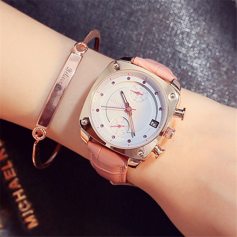 GUOU Watches Women Fashion Dress White Dial Quartz Wrist Watch Rose Gold Waterproof Leather Date Female Clock  relojes mujer<br>