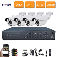 LOFAM 4CH CCTV System 1080N AHD DVR kit 720P 1.0MP 1500TVL outdoor waterproof AHD Camera Security Camera System P2P 4ch dvr kit