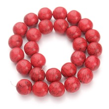 Multi Size Red Howlite beaded Natural Stone Round Loose Beads 40cm pack 4/6/8/10/12/14/16mm Pick Size For Jewelry Making(China)