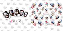 Nail Sticker  Water Transfers Stickers Nail Decals HALLOWEEN COWBOY CUTE BOW TIE SKULL HEAD BONE MACHINE GUN BN193-204