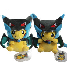 Fashion 2 Style Pikachu Cosplay Mega Charizard X Plush Toys 25cm Kawaii Pikachu Plush Soft Stuffed Animals Toys for Kids(China)