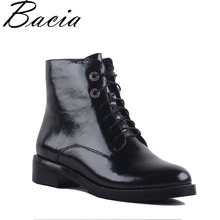 Bacia Women's Boots Genuine Leather Ankle Boots Round toe lace up Woman Casual Shoes r Autumn Winter Short Plush Boots SA069
