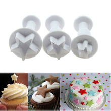 2015 New 3Pcs/Set Mini Star Fondant Cake Decorating Plunger Biscuit Cookies Cutter Diy Mold Christmas Cake Decorating Tools