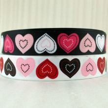 "David accessories 7/8""22mm Valentine heart grosgrain tape ribbon hairbows printed ribbon,5Y14805(China)"