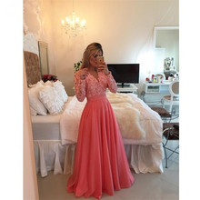 Free shipping Coral Pink Color Long Sleeve Prom Dresses 2017 Cheap Indian Style Prom Tube Gown Used Plus Size Prom Dresses