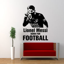 Lionel Messi Born For Football Player Wall Sticker Decal Boys Room Wall Decor Fan Gift Wallpaper Free Shipping(China)