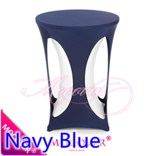 Navy Blue high bar cocktail outdoor table cover lycra table top cover for wedding banquet and party cocktail table decoration