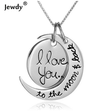 I Love You To the Moon and Back Silver Necklace Love Forever Moon Choker Pendant Necklace for women Men couple lovers gifts