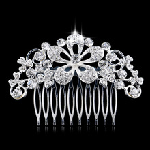 New Leaf Flower Crystal Bridal Hair Combs Wedding Hair Jewelry for Women Hair Accessories Diamante Rhinestone Floral Slide Clip