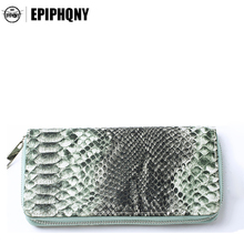 Epiphqny Fashion Brand Silver Bling Snake Long Wallet Animal Female Purse Luxury Colors PU Leather Zipper Design Women 2017(China)