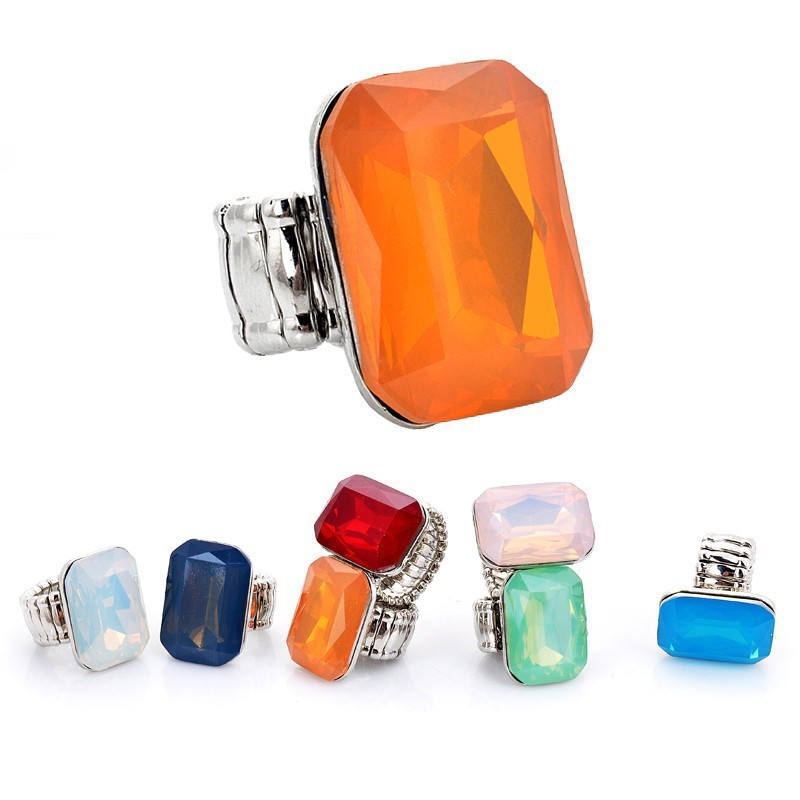 Ring for Women 7 opal Colors Big resin Fashion Elastic Stretch Finger Rings Jewelry Christmas Gift (4)