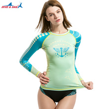 DIVE & SAIL Women Rash Guard Shirt UV UPF 50 Sun Protection Crewneck Long Sleeve Fast Drying