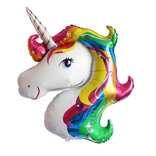Large Rainbow Unicorn Foil Balloons Animal Party Supplies Ballons Inflatable Classic Toys Birthday Decorations for Kids gift(China)