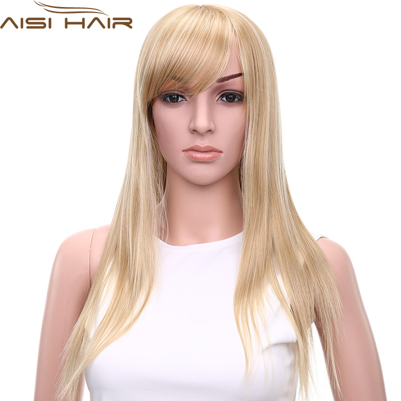 11 Top Women Sexy Long Straight Hair Oblique Bangs Blonde Cute Wig Fashion Heat Resistant Synthetic Fiber African American Wigs<br><br>Aliexpress