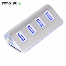 Aluminum USB 2.0 4 Port HUB with Blue Indication Light for USB Flash Drives Keyboard Mouse PC Laptop Etc