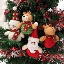 1Pcs Lovely Christmas Tree Decor Dolls Snowman Elk Santa Claus Bear Miniatures Best Christmas Gifts Stuffed Plush Doll Toys