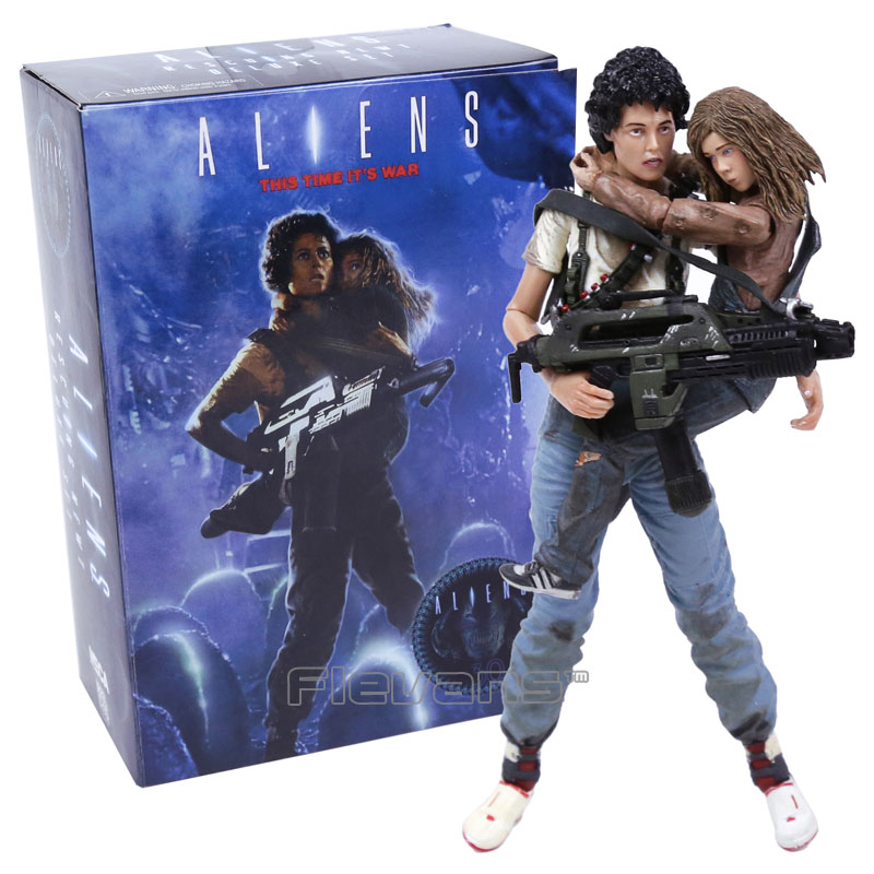 NECA Alien 2 This time its war Ellen Ripley &amp; Newt 30th Anniversary PVC Action Figure Collectible Model Toy 2-pack 7 18cm<br>