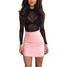Buy Women Sexy Bandge Leather High Waist Pencil Bodycon Hip Short Mini Skirt Sashes Fashion Spring New 2018 Brown Pink for $5.58 in AliExpress store