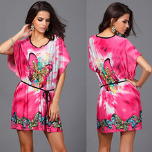Hot Brand NEW 2017 Bohemian Style women casual dress short bat sleeve bow printing plus size mini dress ice silk loose dresses