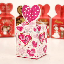 "100pcs paper ""I want to make you happy""Love wedding candy box fishtail gift party box"