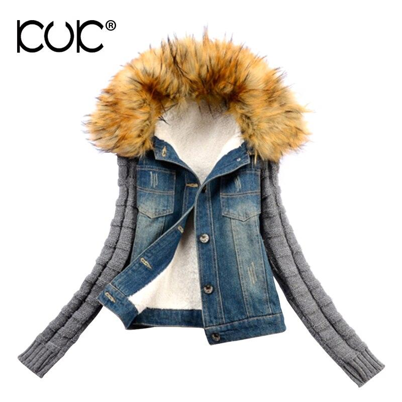 Kuk Winter Jacket Women Denim Jacket Coat Parka Femme Jeans Fur Warm Fleece 4XL Plus Size Outerwear Padded Chaque Mujer A874Îäåæäà è àêñåññóàðû<br><br>