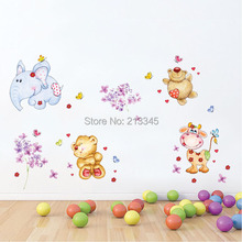 [Fundecor] animal decals DIY wall sticker wallpaper for children bedroom baby room home decoration vinilos paredes infantiles