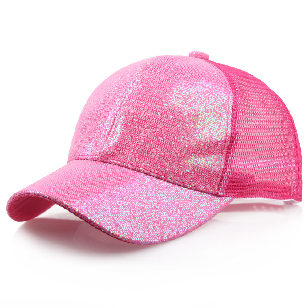 CHAMSGEND 2018 New Fashion Baseball Caps Women Girl Ponytail Baseball Cap Sequins Shiny Messy Bun Snapback Hat Sun Caps(China)
