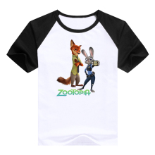 cute tees Cartoondesigned kids clothing hot cartoon Zootopia Judy Hopps Nick Wilde Flash children clothes t shirts