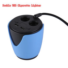 Multifunctional Charger Car Cup Holder Double USB Car Charger Adaptor With Voltage Current Display 2 Port Car Cigarette Lighter(China)