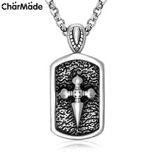 2017 New Cameo Sword Long Pendant Necklace For Women Men Gothic Jewelry Stainless Steel Dog Tag Necklace Colar Masculine P110