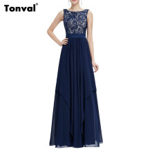 Tonval Women 2017 Summer Chiffon Maxi Dress Lace Evening Party Dresses Elegant Backless Sexy Long Dress